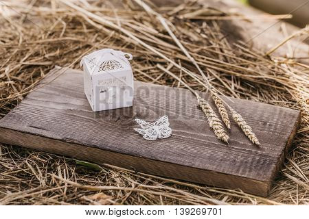 Golden Gift Box On Wooden Board