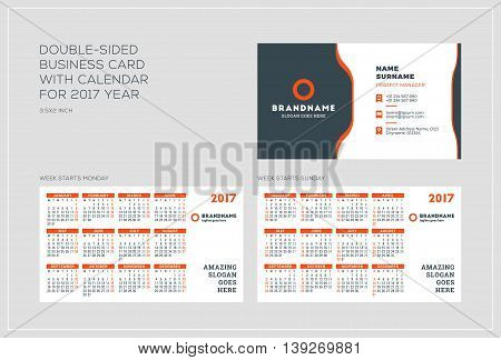 Double-sided Business Card Template With Calendar For 2017 Year. Week Starts Monday. Week Starts Sun
