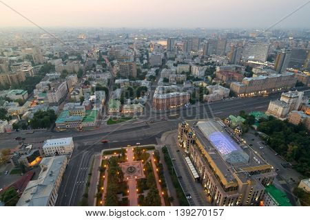 Moscow in morning, View from high-rise building on Kudrinskaya Square