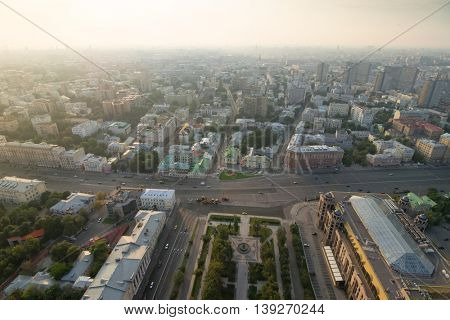 Panorama of Moscow in morning, View from high-rise building on Kudrinskaya Square