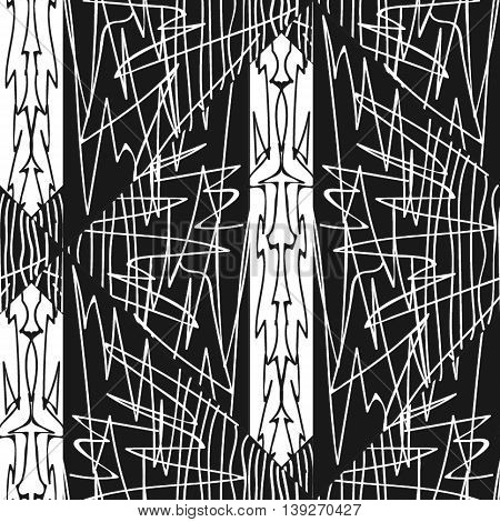 Black and white abstracted seamless  vector pattern
