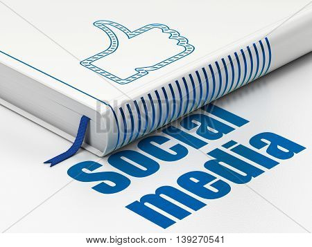 Social network concept: closed book with Blue Thumb Up icon and text Social Media on floor, white background, 3D rendering