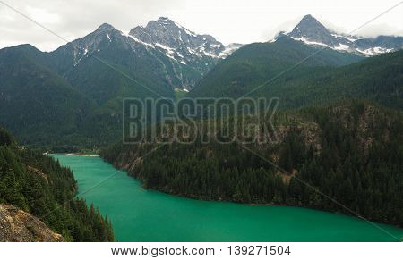 Emerald Diablo Lake in North Cascades National Park