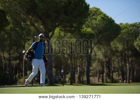 handsome middle eastern golf player carrying  bag  and walking at course to next hole