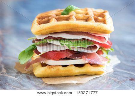 Tasty Waffle Sandwich
