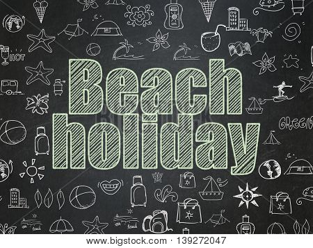 Travel concept: Chalk Green text Beach Holiday on School board background with  Hand Drawn Vacation Icons, School Board