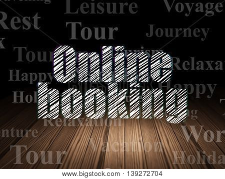 Travel concept: Glowing text Online Booking in grunge dark room with Wooden Floor, black background with  Tag Cloud