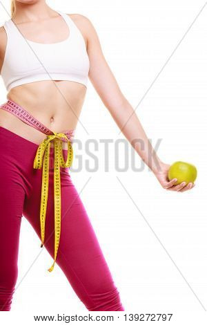 Woman With Grapefruit Measuring Waist.