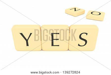 Letter tiles: yes or no 3d illustration