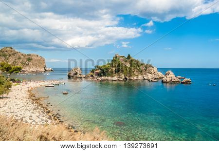 Isola Bella in Taormina (Sicily) during the summer