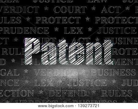 Law concept: Glowing text Patent in grunge dark room with Dirty Floor, black background with  Tag Cloud