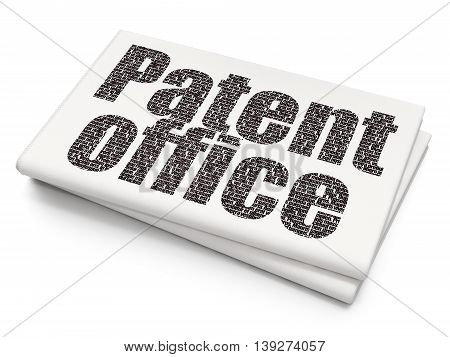 Law concept: Pixelated black text Patent Office on Blank Newspaper background, 3D rendering