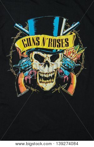 AVEIRO PORTUGAL - JULY 20 2016: Guns n' Roses merchandise t-shirt illustration. Guns N' Roses is of the world's best-selling bands of all time.
