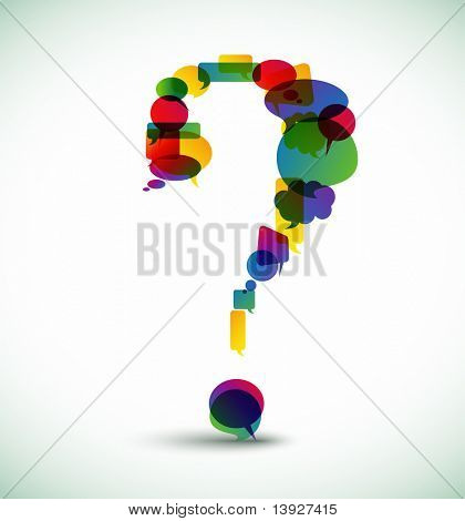 Question mark made from colorful speech bubbles