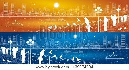 City life panorama. Urban skyline. People watching from the bridge to the river and megalopolis, ships on the water. Infrastructure and transportation illustration, vector design art, day and night