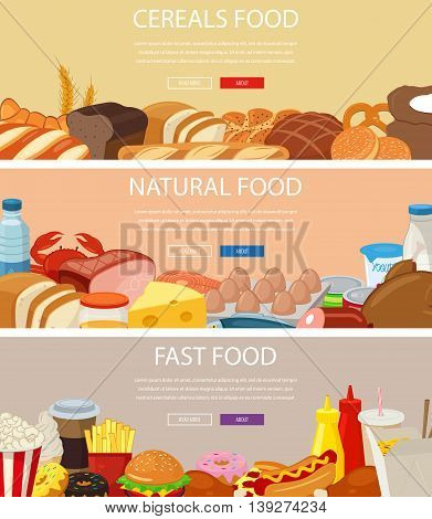 Three design banners set with cereals food, natural food products, fast food. Healthy and Unhealthy eating. Concept website template.