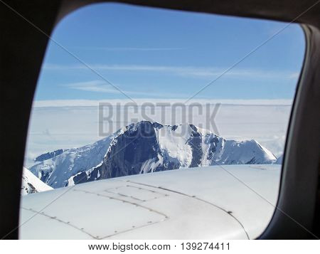 Flight over Denali National Park in small tour plane
