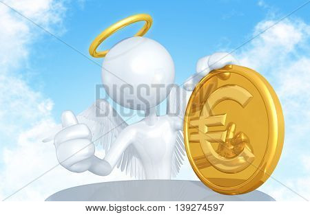 Angel With Coin 3D Illustration