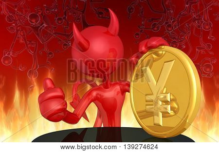 Devil With Coin 3D Illustration