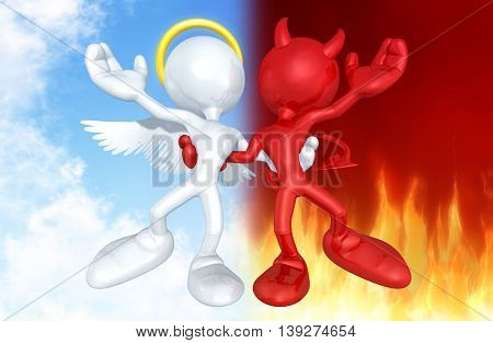Angel And Devil Character Together 3D Illustration