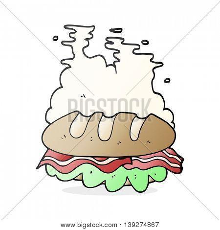 freehand drawn cartoon huge sandwich