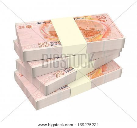 Tunisian dinars bills isolated on white background. 3D illustration.