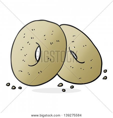 freehand drawn cartoon bagels