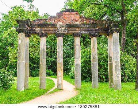 Sieben Saeulen Ruins In Dessau Germany Hdr