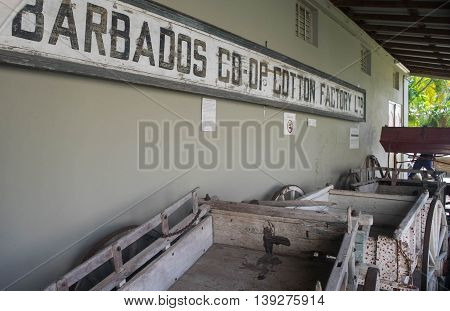 BRIDGETOWN, BARBADOS - NOV 2015 :The Barbados Museum & Historical Society was established in 1933 and has about 500,000 artifacts. This exhibit depicts the importance of the cotton co-op programs in the early 1900's.