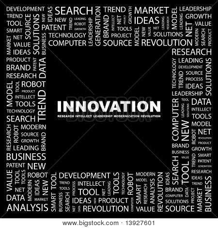 INNOVATION. Word collage on black background. Vector illustration. Illustration with different association terms.