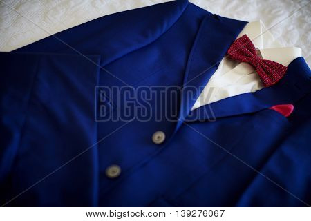 Blue suit with tie and handkerchief. Focused on handkerchief.