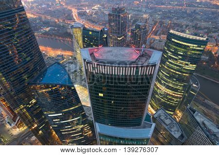MOSCOW, RUSSIA - OCT 17, 2015: Eurasia Tower in Moscow City business complex at evening. Eurasia Tower - 309-meter high building with total area of 207,542 square meters