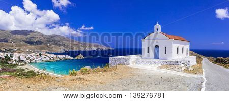 Beautiful landscapes of Greece - Andros island, panoramic view with small church