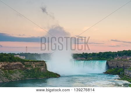 Niagara Falls photographed in the early evening.