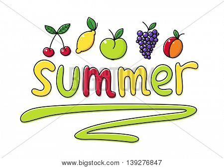 Summer fruit set of vector illustrations summertime healthy food apple cherry grapes berry peach lemon