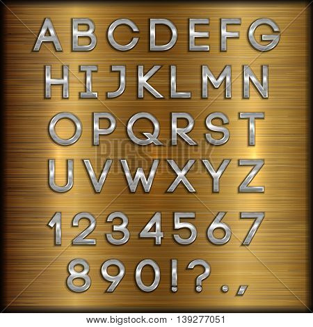 Vector thin silver coated alphabet capital letters, digits and punctuation on copper brushed metallic background