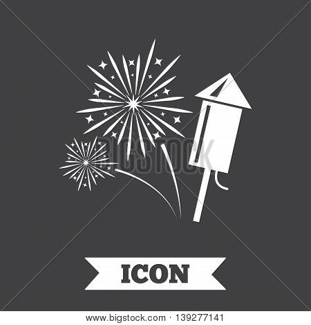Fireworks with rocket sign icon. Explosive pyrotechnic symbol. Graphic design element. Flat fireworks symbol on dark background. Vector