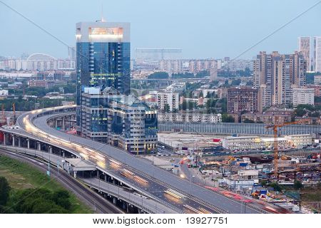 North Tower - new modern business center, third transport ring. Panorama of Moscow, Russia