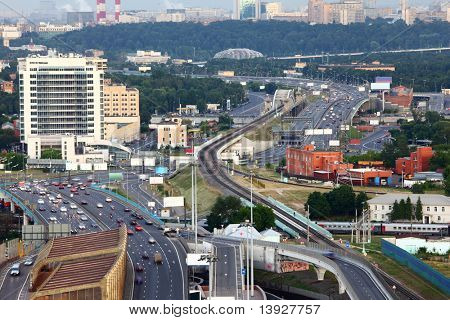 Many cars on third transport ring, railroad, Panorama of Moscow, Russia