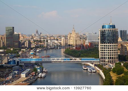 Commerce and pedestrian bridge in Moscow International Business Center, panorama of Moscow, Russia