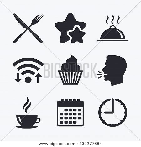 Food and drink icons. Muffin cupcake symbol. Fork and knife sign. Hot coffee cup. Food platter serving. Wifi internet, favorite stars, calendar and clock. Talking head. Vector