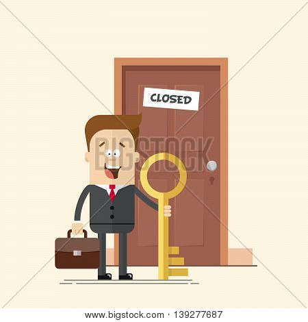 happy businessman with a key manager or standing in front of a closed door. A man with a suitcase in a business suit with a tie. Solved a problem. Moving forward. No obstacles