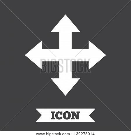 Fullscreen sign icon. Arrows symbol. Icon for App. Graphic design element. Flat fullscreen symbol on dark background. Vector