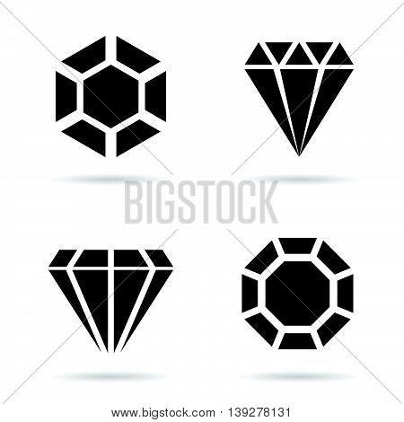 Diamond Luxury Perfect Icon Set Illustration