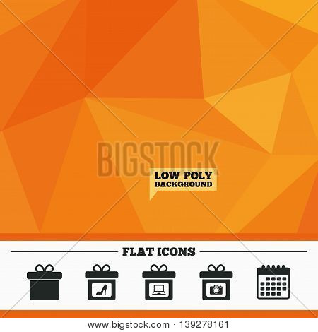 Triangular low poly orange background. Gift box sign icons. Present with bow symbols. Photo camera sign. Woman shoes. Calendar flat icon. Vector