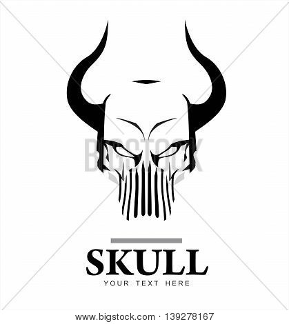 skull. skull with the horn in black and white. suitable for extreme sport activity biker community emblem logo icon etc.