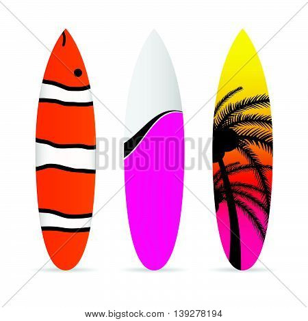 Surfboard With Various Item Icon On It Set Illustration