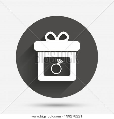 Gift box sign icon. Present with engagement ring symbol. Circle flat button with shadow. Vector