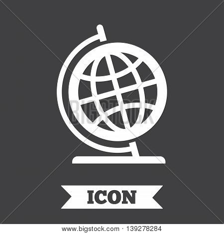 Globe sign icon. Geography symbol. Globe on stand for studying. Graphic design element. Flat globe symbol on dark background. Vector