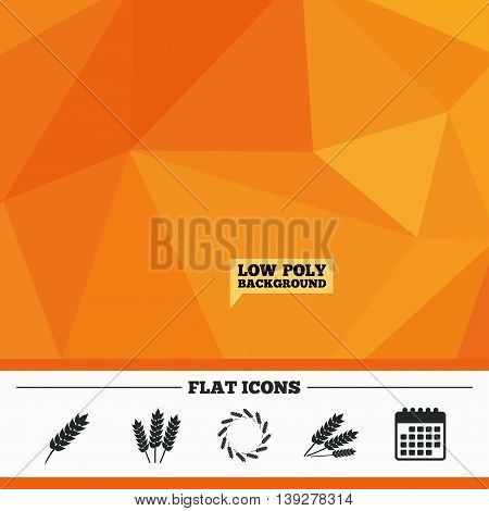 Triangular low poly orange background. Agricultural icons. Gluten free or No gluten signs. Wreath of Wheat corn symbol. Calendar flat icon. Vector